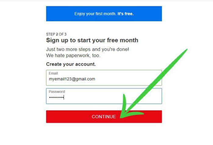 Netflix sign up free