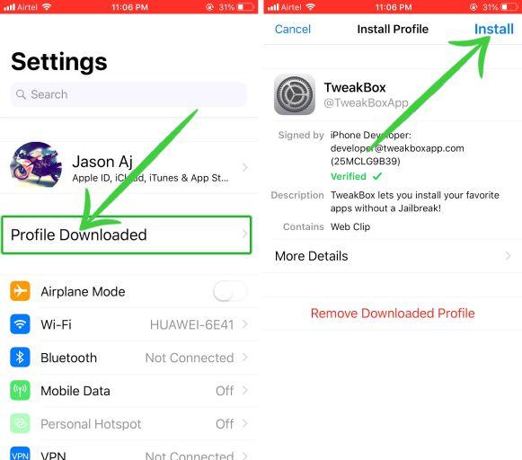 Install tweakbox profile on iphone