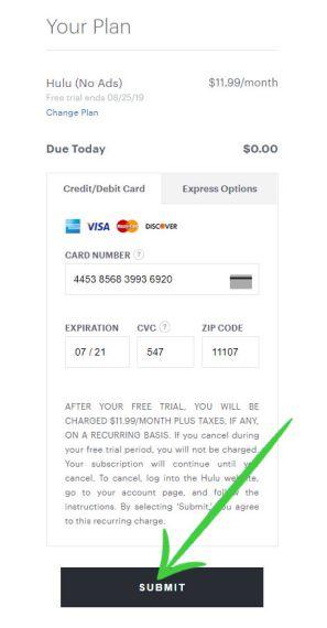 Hulu Credit card payment