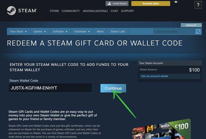 Redeem Steam code